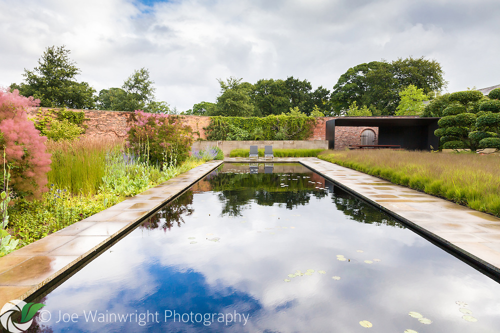 A pool in the gardens at Cogshall Grange, Cheshire - photographed in July