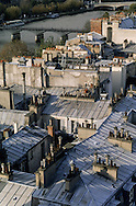 France. Paris. elevated view. The seine river  ,  the roofs . .