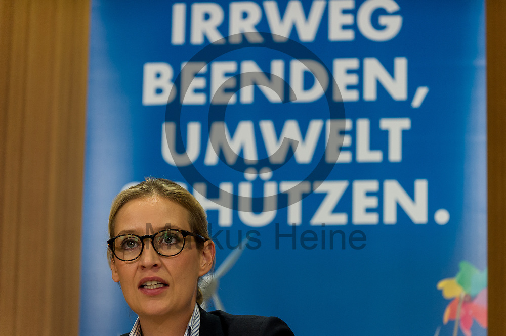 Deutschland, Berlin - 04.09.2017<br /> <br /> Die Spitzenkandidatin der AfD Alice Weidel spricht w&auml;hrend der Pressekonferenz. Die AfD (Alternative f&uuml;r Deutschland) stellt auf der Pressekonferenz unter dem Thema &quot;Irrweg beenden - Umwelt sch&uuml;tzen&quot; ihr Konzept f&uuml;r die Energiewende und Diesel vor.<br /> <br /> Germany, Berlin - 04.09.2017<br /> <br /> The top candidate of the AfD Alice Weidel speaks during the press conference. The AfD (alternative for Germany) will be presenting its concept for the power generation and diesel engines at the press conference entitled &quot;Ending Irrigation - Protecting the Environment&quot;.<br /> <br />  Foto: Markus Heine<br /> <br /> ------------------------------<br /> <br /> Ver&ouml;ffentlichung nur mit Fotografennennung, sowie gegen Honorar und Belegexemplar.<br /> <br /> Bankverbindung:<br /> IBAN: DE65660908000004437497<br /> BIC CODE: GENODE61BBB<br /> Badische Beamten Bank Karlsruhe<br /> <br /> USt-IdNr: DE291853306<br /> <br /> Please note:<br /> All rights reserved! Don't publish without copyright!<br /> <br /> Stand: 09.2017<br /> <br /> ------------------------------