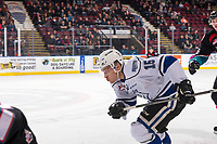 KELOWNA, CANADA - NOVEMBER 23:  Igor Martynov #15 of the Victoria Royals skates against the Kelowna Rockets on November 23, 2018 at Prospera Place in Kelowna, British Columbia, Canada.  (Photo by Marissa Baecker/Shoot the Breeze)