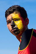 A Belgian fan with his face paint running looks on after his team go 1 goal down at the FIFA Fan Fest, Copacabana beach, Rio de Janeiro, during the Argentina v Belgium World Cup quarter final match which was shown on big screens.<br /> Picture by Andrew Tobin/Focus Images Ltd +44 7710 761829<br /> 05/07/2014