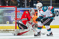KELOWNA, BC - MARCH 02:  Shane Farkas #1 of the Portland Winterhawks makes a save on a shot by Liam Kindree #26 of the Kelowna Rockets at Prospera Place on March 2, 2019 in Kelowna, Canada. (Photo by Marissa Baecker/Getty Images)