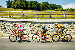 David Per (SLO) of Adria Mobil, Lorenzo Fortunato (ITA) of Neri Sottoli Selle Italia KTM and Rok Korosec (SLO) of Ljubljana Gusto Santic during 2nd Stage of 26th Tour of Slovenia 2019 cycling race between Maribor and  Celje (146,3 km), on June 20, 2019 in Celje, Maribor, Slovenia. Photo by Vid Ponikvar / Sportida
