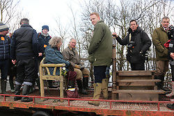 © Licensed to London News Pictures. 04/02/2014. Muchelney, Somerset. Prince Charles visits the floods on the Somerset levels today to inspect flood damage and meet the people of Muchelney who have been cut off by recent flood waters . Photo credit : Jason Bryant/LNP