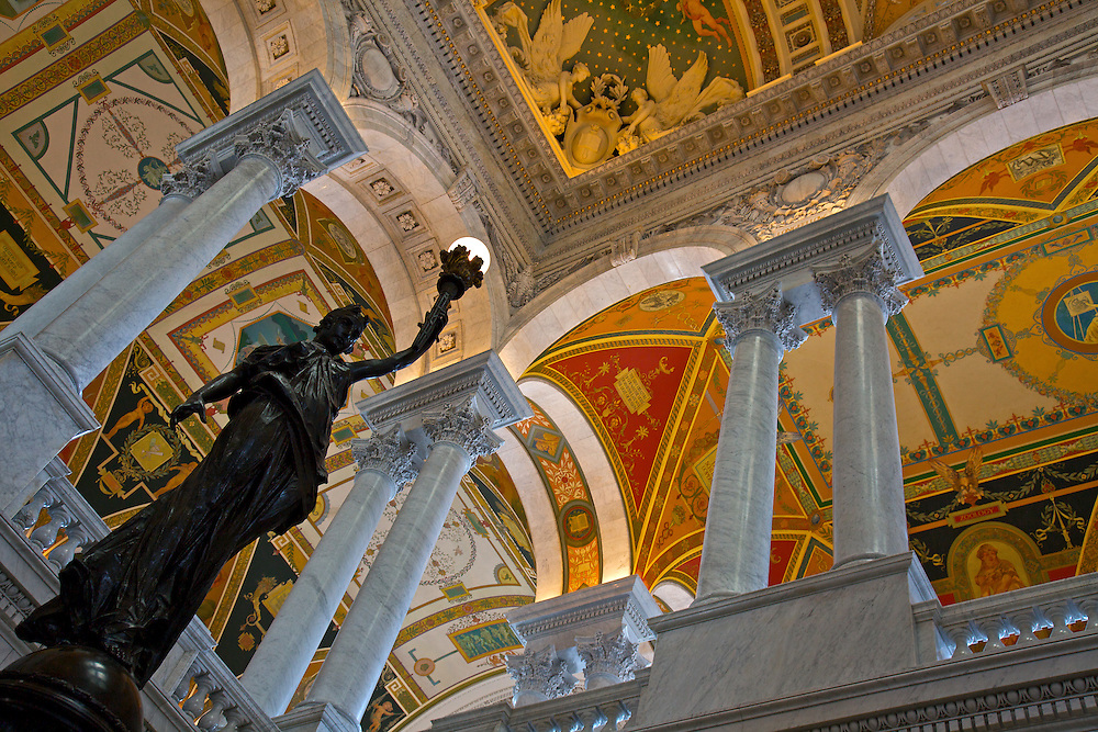 The Great Hall of the Library of Congress, the nation's oldest federal cultural institution, which serves as the research arm of Congress. It is also the largest library in the world, with millions of books, recordings, photographs, maps and manuscripts in its collections.