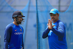 July 25, 2017 - Galle, Sri Lanka - Indian cricketer Rohit Sharma(L) listens to Indian head coach Ravi Shastri(R) during a  practice session ahead of the 1st test match between Sri Lanka and India at Galle International cricket stadium, Galle, Sri Lanka on Tuesday 25 July 2017. (Credit Image: © Tharaka Basnayaka/NurPhoto via ZUMA Press)