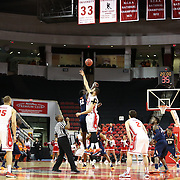 Nnanna Egwu #32 of the Illinois Fighting Illini goes up for the opening tip-off against  the Boston University Terriers during the NIT First Round game at Agganis Arena on March 19, 2014 in Boston, Massachusetts . (Photo by Elan Kawesch)