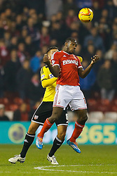 Michail Antonio of Nottingham Forest is challenged by Harlee Dean of Brentford - Photo mandatory by-line: Rogan Thomson/JMP - 07966 386802 - 05/11/2014 - SPORT - FOOTBALL - Nottingham, England - City Ground - Nottingham Forest v Brentford - Sky Bet Championship.