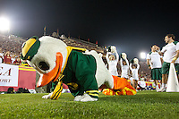 03 November 2012: The Oregon Ducks mascot does pushups after Oregon scores a touchdown against the USC Trojans during the second half of Oregon's  62-51victory over USC at the Los Angeles Memorial Coliseum in Los Angeles, CA.
