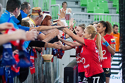 Players of HCM Baia Mare celebrate after handball match between RK Krim Mercator (SLO) and HCM Baia Mare (ROM) in 1st Round of Women's EHF Champions League 2015/16, on October 16, 2015 in Arena Stozice, Ljubljana, Slovenia. Photo by Urban Urbanc / Sportida
