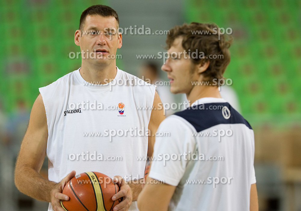 Goran Jagodnik and Goran Dragic at practice of Slovenia basketball team before opening of the new sports arena in Stozice on August 10, 2010, in Ljubljana, Slovenia.  (Photo by Vid Ponikvar / Sportida)
