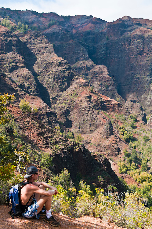 Hiker on the Kukui Trail, Waimea Canyon, Kauai, Hawaii