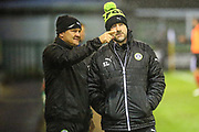 Forest Green Rovers manager, Mark Cooper and Forest Green Rovers assistant manager, Scott Lindsey during the EFL Sky Bet League 2 match between Forest Green Rovers and Lincoln City at the New Lawn, Forest Green, United Kingdom on 12 September 2017. Photo by Shane Healey.