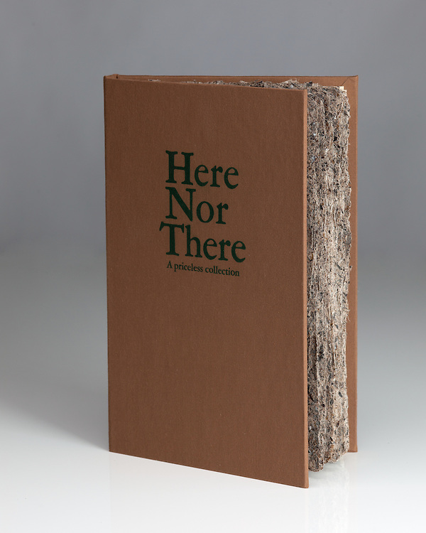 Handmade paper,case bound book. An Artists' Book, titled Here Nor There by Morgan Hiscocks