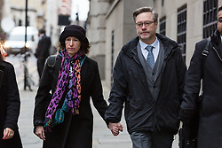 "© Licensed to London News Pictures. 12/01/2017. LONDON, UK.  JOHN LETTS (R) and SALLY LANE (L), the parents of Jack Letts, dubbed ""Jihadi Jack"",  arrive at The Central Criminal Court charged with terrorism offences. Jack Letts is believed to be the first white Briton to join Islamic State (ISIS) in Syria. John Letts and Sally Lane have pleaded not guilty to three counts of making money available knowing or having reasonable cause to suspect that it may be used for a terrorist purpose. Mrs Lane is charged with two further counts of attempting to provide money knowing it may be used to fund terrorism..  Photo credit: Vickie Flores/LNP"