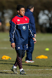 Paolo Odogwo of England U20 looks on during a session at Bristol Rugby's training facility ahead of the U20 Six Nations match versus Wales - Mandatory byline: Rogan Thomson/JMP - 08/03/2016 - RUGBY UNION - Clifton Rugby Club - Bristol, England - England Under 20s Training at Bristol Rugby.