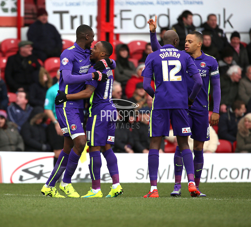 Charlton Athletic midfielder, Callum Harriott (11) celebrating scoring opening goal to make it 0-1 during the Sky Bet Championship match between Brentford and Charlton Athletic at Griffin Park, London, England on 5 March 2016. Photo by Matthew Redman.