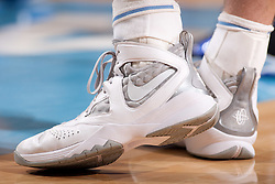 CHAPEL HILL, NC - MARCH 05: A detail view of NIKE basketball shoes worn by Tyler Zeller #44 of the North Carolina Tar Heels on March 05, 2011 at the Dean E. Smith Center in Chapel Hill, North Carolina. North Carolina won 67-81. (Photo by Peyton Williams/UNC/Getty Images) *** Local Caption *** Tyler Zeller