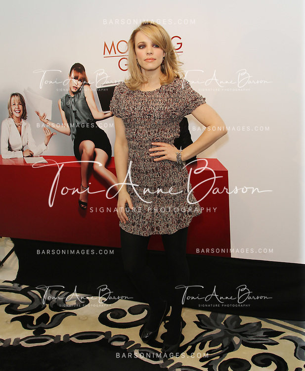 "PARIS - JANUARY 14:  Rachel Mc Adams attends ""Morning Glory"" Photocall at Hotel Meurice on January 14, 2011 in Paris, France.  (Photo by Tony Barson/FilmMagic)"