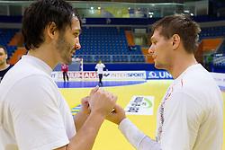 David Spiler and Marko Bezjak during practice session of Slovenia National Handball team during 10th EHF European Handball Championship Serbia 2012, on January 17, 2012 in Millennium Center, Vrsac, Serbia. (Photo By Vid Ponikvar / Sportida.com)