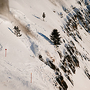 Avalanche running through a cliff zone on Jackson Hole Mountain Resort.