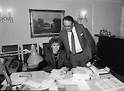 Presentation Of Donnelly Visas.  (R71)..1988..19.01.1988..01.19.1988..19th January 1988..As part of his interest in Ireland Congressman Brian Donnelly promoted a visa scheme to easily allow Irish people entry into America. Known now as the Donnelly Visas,Congressman Donnelly came to The American Embassy in Dublin to present the new visas to those where lucky enough in the first draw to obtain the visas.