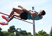 Pierce LePage (CAN) clears 6-9 1/2 (2.07m) in the high jump during the decathlon at the DecaStar meeting, Friday, June 22, 2019, in Talence, France. Piece won with 8, 453 points. (Jiro Mochizuki/Image of Sport)