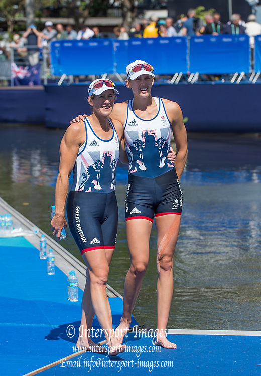Rio de Janeiro. BRAZIL.  Silver Medalist GBR W2X. Bow Victoria THORNILY and Katherine GRAINGER . 2016 Olympic Rowing Regatta. Lagoa Stadium,<br /> Copacabana,  &ldquo;Olympic Summer Games&rdquo;<br /> Rodrigo de Freitas Lagoon, Lagoa. Local Time 11:20:57  Thursday  11/08/2016 <br /> [Mandatory Credit; Peter SPURRIER/Intersport Images]