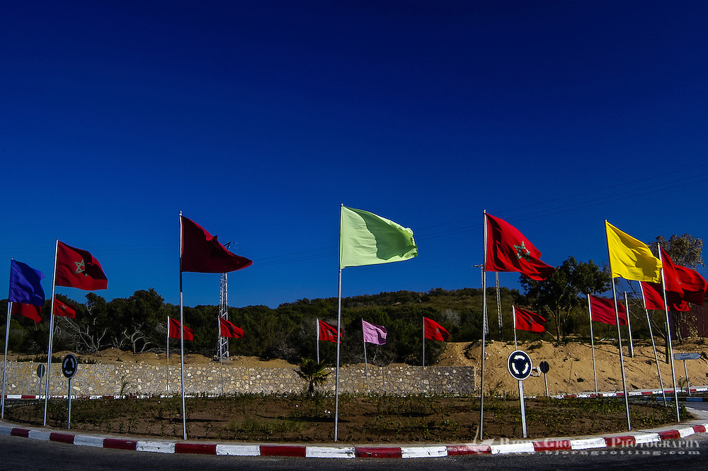 Flags at a crossroad north of Essaouira, Morocco.
