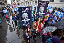 © Licensed to London News Pictures. 03/02/2018. LONDON, UK.  Thousands of people take part in a 'Fix the NHS' protest demanding government action into the deepening problems facing the National Health Service.  Protesters marched from Gower Street to Westminster in a rally organised by the People's Assembly and Health Campaigns Together.   Photo credit: Stephen Chung/LNP