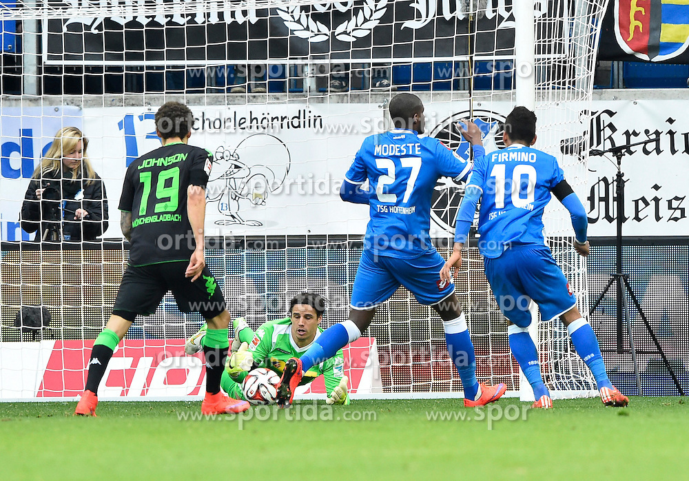 04.04.2015, Rhein Neckar Arena, Sinsheim, GER, 1. FBL, TSG 1899 Hoffenheim vs Borussia Moenchengladbach, 27. Runde, im Bild Kopfball Aktion Anthony Modeste TSG 1899 Hoffenheim (links) scheitert Torwart Yann Sommer Borussia Moenchengladbach // during the German Bundesliga 27th round match between TSG 1899 Hoffenheim and Borussia Moenchengladbach at the Rhein Neckar Arena in Sinsheim, Germany on 2015/04/04. EXPA Pictures &copy; 2015, PhotoCredit: EXPA/ Eibner-Pressefoto/ Weber<br /> <br /> *****ATTENTION - OUT of GER*****