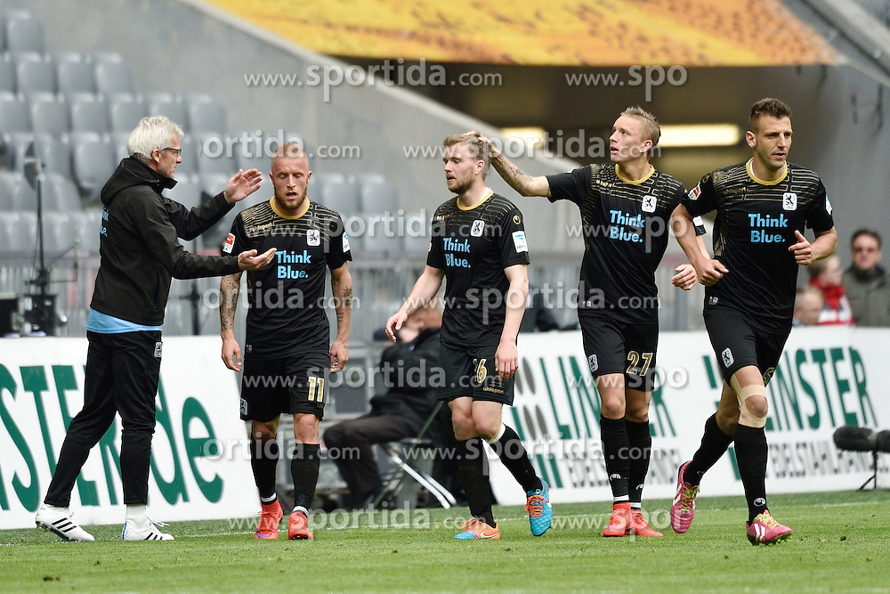 18.04.2015, Allianz Arena, M&uuml;nchen, GER, 2. FBL, TSV 1860 M&uuml;nchen vs VfL Bochum, 29. Runde, im Bild Daniel Adlung (TSV 1860 Muenchen), Stepahn Hain (TSV 1860 Muenchen), Marius Wolf (TSV 1860 Muenchen), Torschuetze, Guillermo Vallori (TSV 1860 Muenchen), v.li. Jubel, // during the 2nd German Bundesliga 29th round match between TSV 1860 M&uuml;nchen vs VfL Bochum at the Allianz Arena in M&uuml;nchen, Germany on 2015/04/18. EXPA Pictures &copy; 2015, PhotoCredit: EXPA/ Eibner-Pressefoto/ Buthmann<br /> <br /> *****ATTENTION - OUT of GER*****