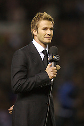 Manchester, England - Tuesday, March 13, 2007:  Former Manchester United player David Beckham speaks to the screaming teenage fans in the crowd as he walks onto the pitch at half-time during the UEFA Celebration Match between Manchester United and Europe XI at Old Trafford. (Pic by David Rawcliffe/Propaganda)