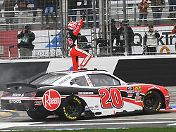 February 23, 2019 - Hampton, GA, U.S. - HAMPTON, GA - FEBRUARY 23: A victorious Christopher Bell, Joe Gibbs Racing, Toyota Supra Rheem (20) celebrates after winning the Xfinity Series Rinnai 250 on February 23, 2019, at Atlanta Motor Speedway in Hampton, GA.(Photo by Jeffrey Vest/Icon Sportswire) (Credit Image: © Jeffrey Vest/Icon SMI via ZUMA Press)