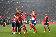 Players of Atletico de Madrid celebrate 1st goal scored by forward Antoine Griezmann during the UEFA Europa League, Final football match between Olympique de Marseille and Atletico de Madrid on May 16, 2018 at Groupama Stadium in Decines-Charpieu near Lyon, France - Photo Jean-Marie Hervio / ProSportsImages / DPPI