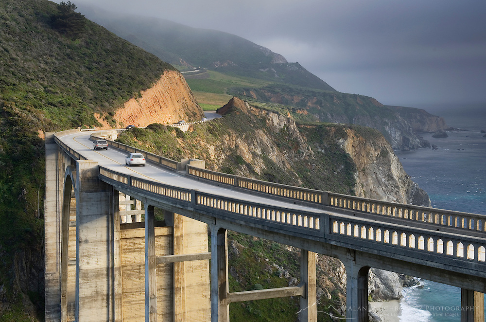 Classic view of the Bixby Bridge and rugged coastal headlands of Big Sur California