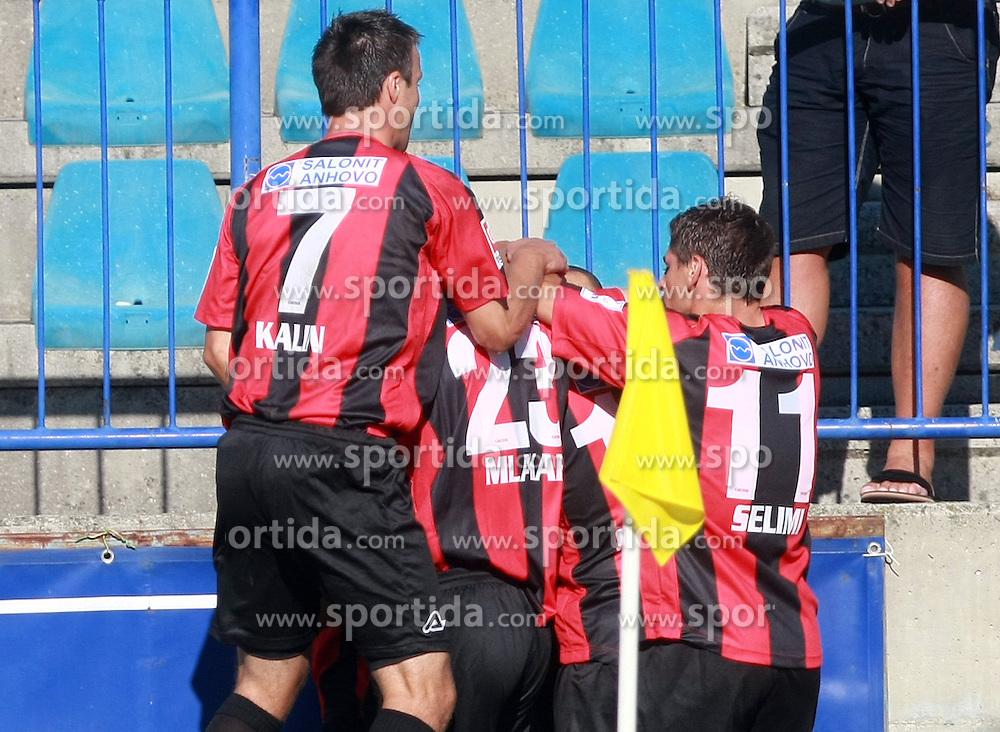 Team Primorje (Peter Kalin (7) of Primorje, Matej Mlakar  (23) of Primorje and Nezbedin Selimi (11) of Primorje) celebrating at 6th Round of PrvaLiga Telekom Slovenije between NK Primorje Ajdovscina vs NK Rudar Velenje, on August 24, 2008, in Town stadium in Ajdovscina. Primorje won the match 3:1. (Photo by Vid Ponikvar / Sportal Images)