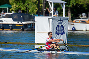 Henley on Thames, England, United Kingdom, 4th July 2019, Henley Royal Regatta, Diamonds Challenge Sculls, M. GORETTI, Team Italia, Italy, passing the one mile and one eight barrier,  Henley Reach, [© Peter SPURRIER/Intersport Image]<br /> <br /> 08:56:16 1919 - 2019, Royal Henley Peace Regatta Centenary,