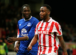 Saido Berahino of Stoke City talks with Romelu Lukaku of Everton as the players leave the field at full time - Mandatory by-line: Matt McNulty/JMP - 01/02/2017 - FOOTBALL - Bet365 Stadium - Stoke-on-Trent, England - Stoke City v Everton - Premier League