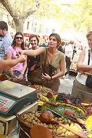 The Saturday market in Uzès, Languedoc, France....Photo by Owen Franken for the NY Times
