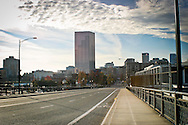 Looking North on Broadway in Portland Oregon, towards the US Bank Corp. Tower. Downtown Portland
