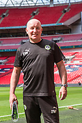 Forest Green Rovers physio Ian Weston during the Vanarama National League Play Off Final match between Tranmere Rovers and Forest Green Rovers at Wembley Stadium, London, England on 14 May 2017. Photo by Shane Healey.