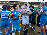 Tamara Taylor post match, England Women v Italy Women in Women's 6 Nations Match at Twickenham Stoop, Twickenham, England, on 15th February 2015. Final score 39-7.