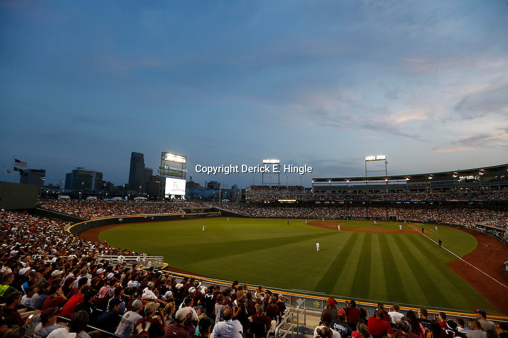 Jun 24, 2013; Omaha, NE, USA; General view of TD Ameritrade Park during the fifth inning in game 1 of the College World Series finals between the UCLA Bruins and the Mississippi State Bulldogs. Mandatory Credit: Derick E. Hingle-USA TODAY Sports