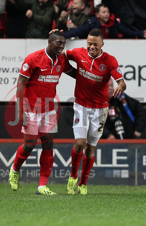 Charlton Athletic's Marvin Sordell celebrates scoring his sides third goal with Jordan Cousins 3-1 - Photo mandatory by-line: Robin White/JMP - Tel: Mobile: 07966 386802 08/04/2014 - SPORT - FOOTBALL - The Valley - Charlton - Charlton Athletic v Yeovil Town - Sky Bet Championship