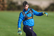 Forest Green Rovers goalkeeper Sam Russell(23) during the Forest Green Rovers training session at Stanley Park, Chippenham, United Kingdom on 6 November 2017. Photo by Shane Healey.