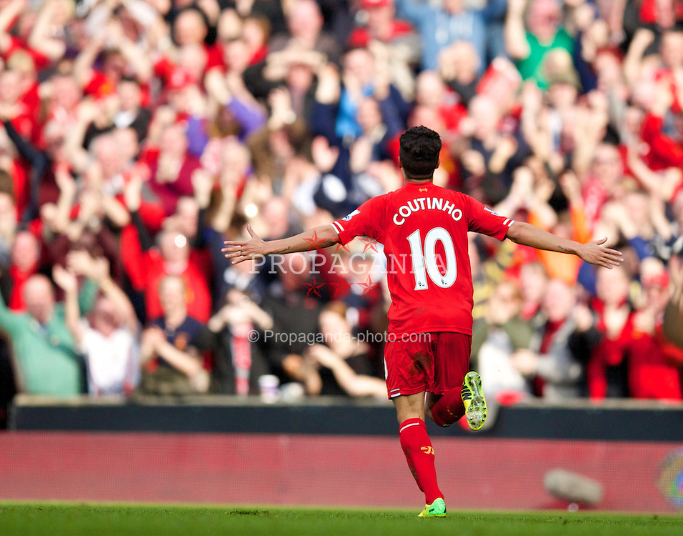 LIVERPOOL, ENGLAND - Sunday, March 30, 2014: Liverpool's Philippe Coutinho Correia celebrates scoring the third goal against Tottenham Hotspur during the Premiership match at Anfield. (Pic by David Rawcliffe/Propaganda)