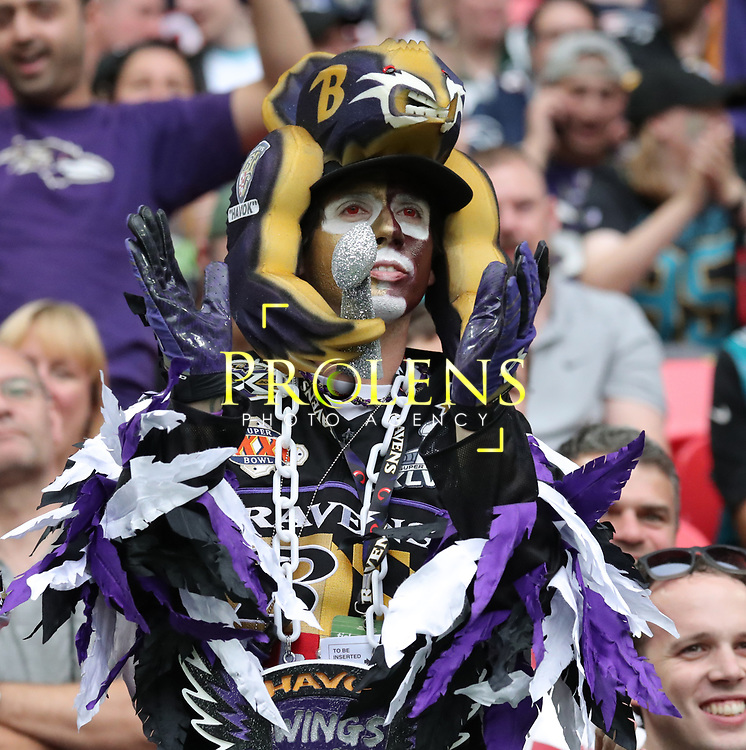 LONDON, ENGLAND - SEPTEMBER 24: A Ravens fan during the NFL match between The Jacksonville Jaguars and The Baltimore Ravens at Wembley Stadium on September 24, 2017 in London, United Kingdom. (Photo by Mitchell Gunn/ESPA-Images)
