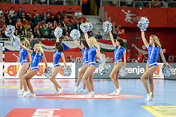 Cheerleaders during handball match between National teams of Spain and Czech Republic on Day 2 in Preliminary Round of Men's EHF EURO 2018, on Januar 13, 2018 in Skolsko Sportska Dvorana, Varazdin, Croatia. Photo by Mario Horvat / Sportida