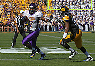September 15 2012: Northern Iowa Panthers running back David Johnson (7) tries to hold off Iowa Hawkeyes linebacker Anthony Hitchens (31) during the first quarter of the NCAA football game between the Northern Iowa Panthers and the Iowa Hawkeyes at Kinnick Stadium in Iowa City, Iowa on Saturday September 15, 2012. Iowa defeated Northern Iowa 27-16.
